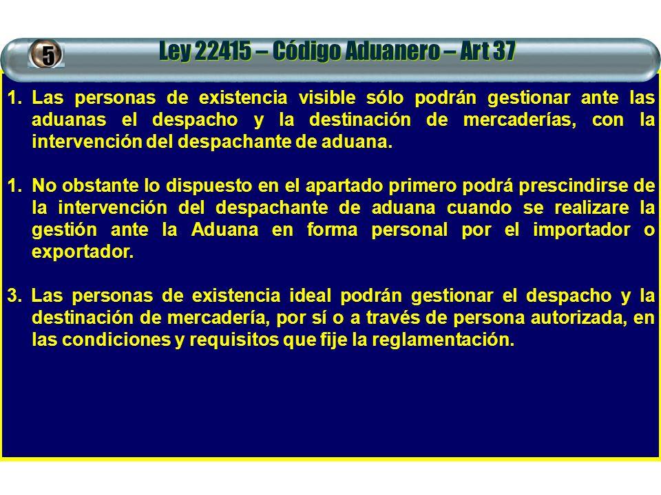 Ley 22415 – Código Aduanero – Art 37 1.Las personas de existencia visible sólo podrán gestionar ante las aduanas el despacho y la destinación de merca