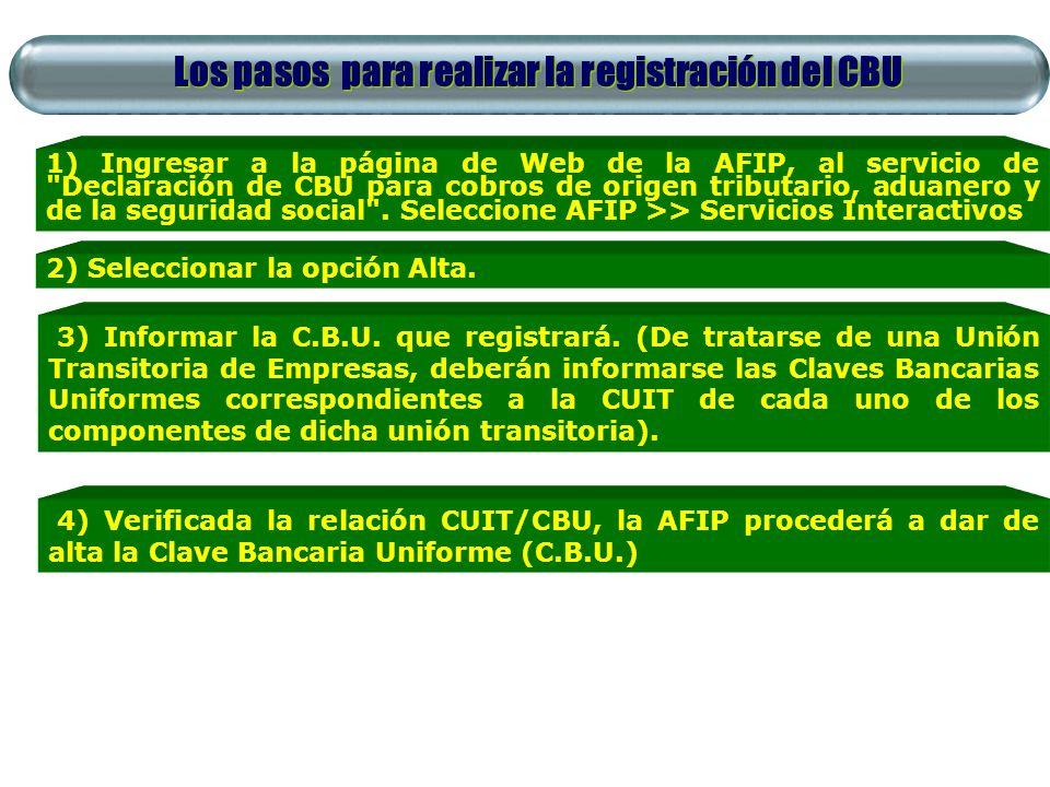 Los pasos para realizar la registración del CBU 1) Ingresar a la página de Web de la AFIP, al servicio de