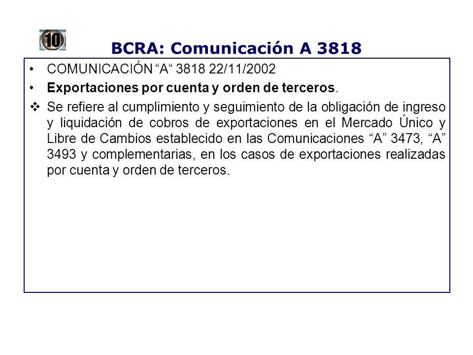 BCRA: Comunicación A 3818 COMUNICACIÓN A 3818 22/11/2002 Exportaciones por cuenta y orden de terceros. Se refiere al cumplimiento y seguimiento de la
