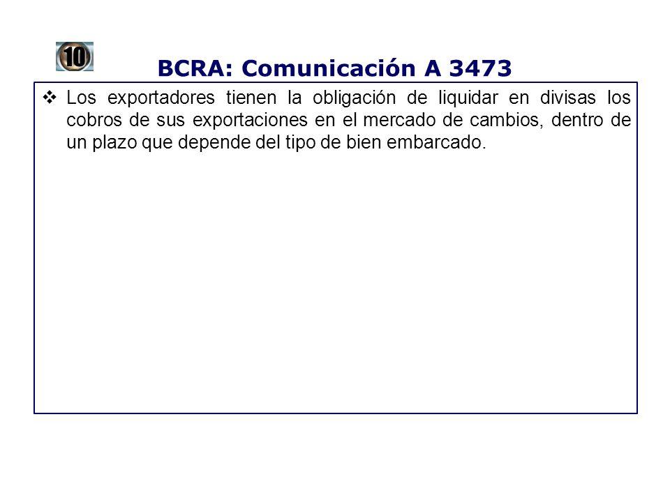 BCRA: Comunicación A 3473 Los exportadores tienen la obligación de liquidar en divisas los cobros de sus exportaciones en el mercado de cambios, dentr