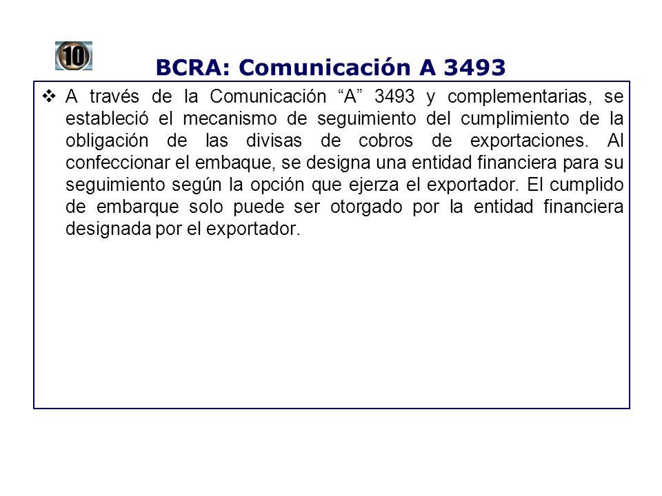 BCRA: Comunicación A 3493 A través de la Comunicación A 3493 y complementarias, se estableció el mecanismo de seguimiento del cumplimiento de la oblig