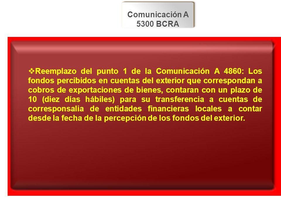 Comunicación A 5300 BCRA Reemplazo del punto 1 de la Comunicación A 4860: Los fondos percibidos en cuentas del exterior que correspondan a cobros de e