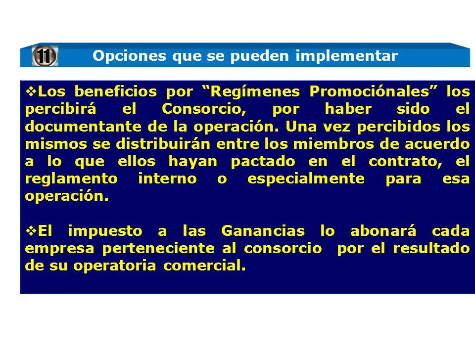 Los beneficios por Regímenes Promociónales los percibirá el Consorcio, por haber sido el documentante de la operación. Una vez percibidos los mismos s