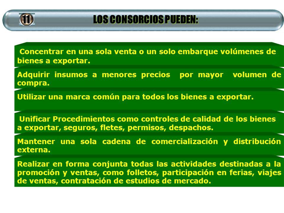LOS CONSORCIOS PUEDEN: Concentrar en una sola venta o un solo embarque volúmenes de bienes a exportar. Adquirir insumos a menores precios por mayor vo