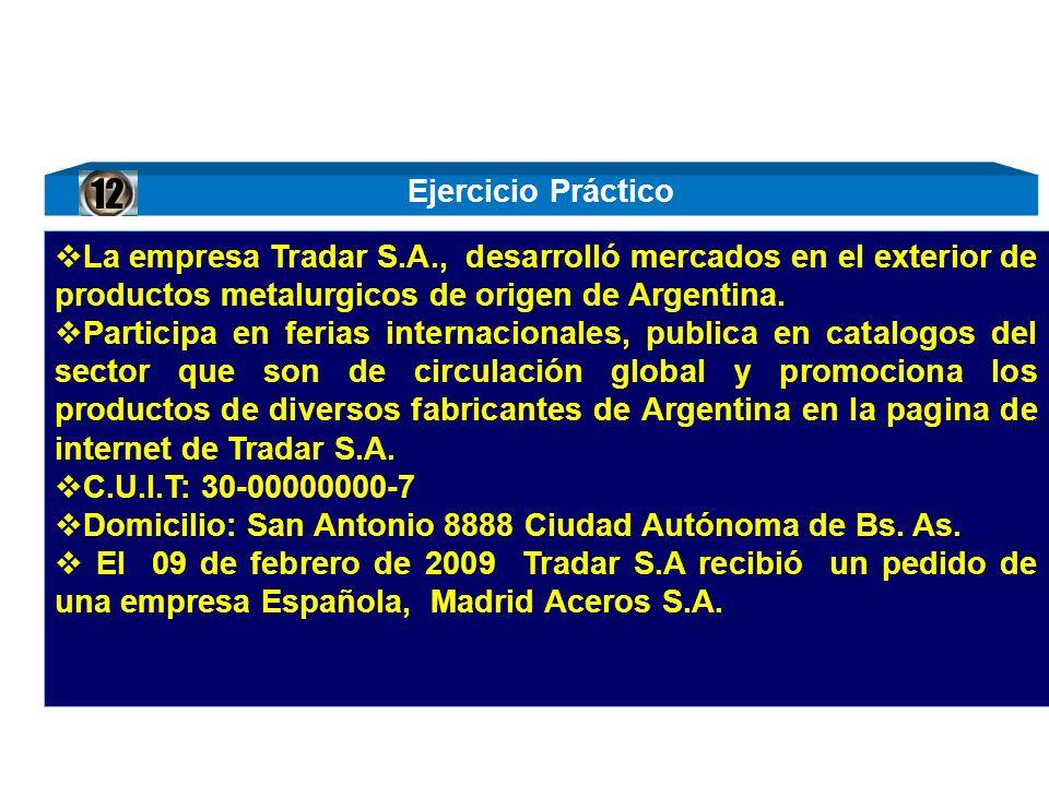 La empresa Tradar S.A., desarrolló mercados en el exterior de productos metalurgicos de origen de Argentina. Participa en ferias internacionales, publ