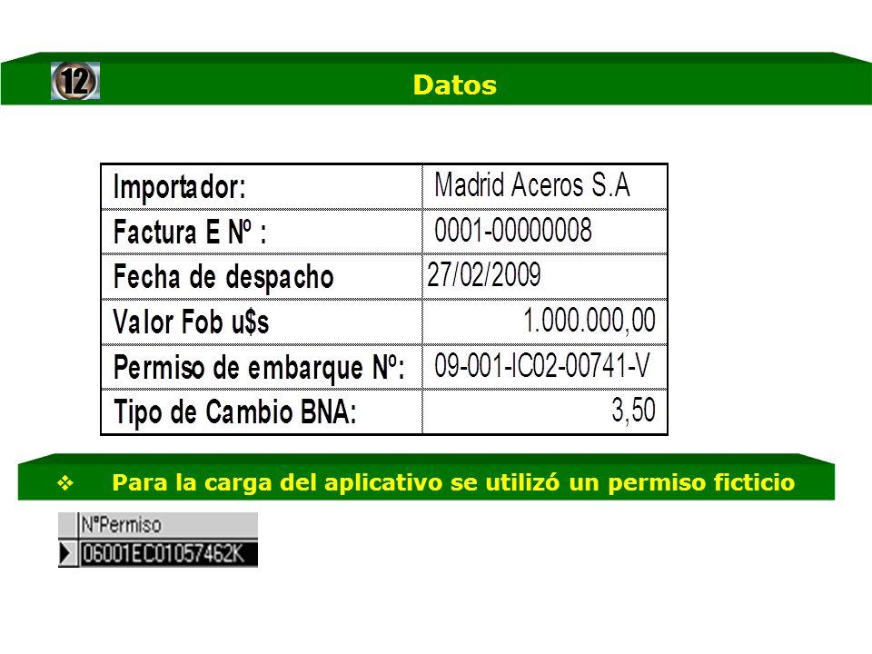 Datos Para la carga del aplicativo se utilizó un permiso ficticio12