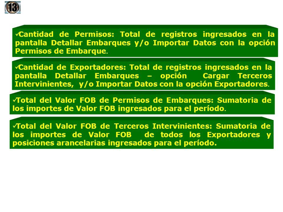 Cantidad de Permisos: Total de registros ingresados en la pantalla Detallar Embarques y/o Importar Datos con la opción Permisos de Embarque.. Cantidad