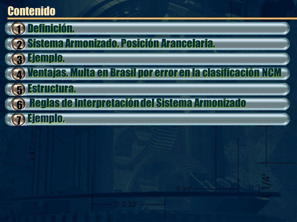 Contenido Ejemplo. Ventajas. Multa en Brasil por error en la clasificación NCM Estructura. Reglas de Interpretación del Sistema Armonizado 2 3 4 5 6 D
