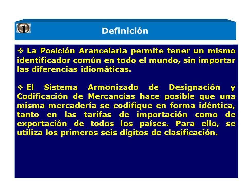 Definición La Posición Arancelaria permite tener un mismo identificador común en todo el mundo, sin importar las diferencias idiomáticas. El Sistema A