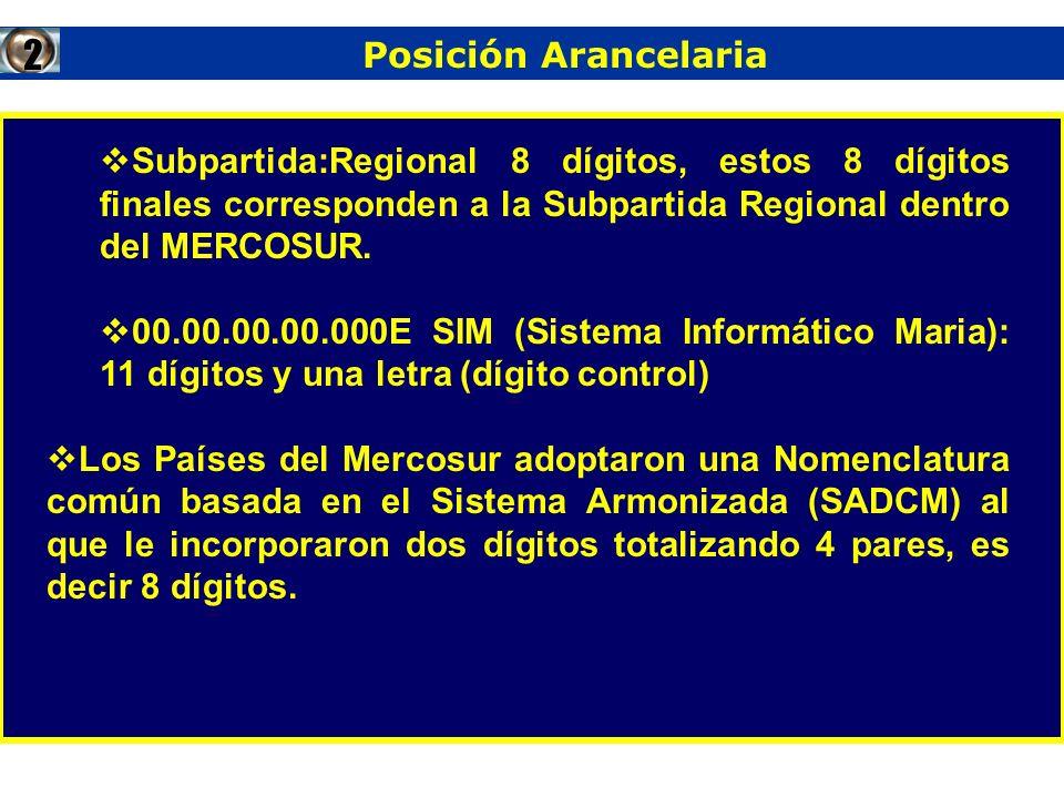 Subpartida:Regional 8 dígitos, estos 8 dígitos finales corresponden a la Subpartida Regional dentro del MERCOSUR. 00.00.00.00.000E SIM (Sistema Inform