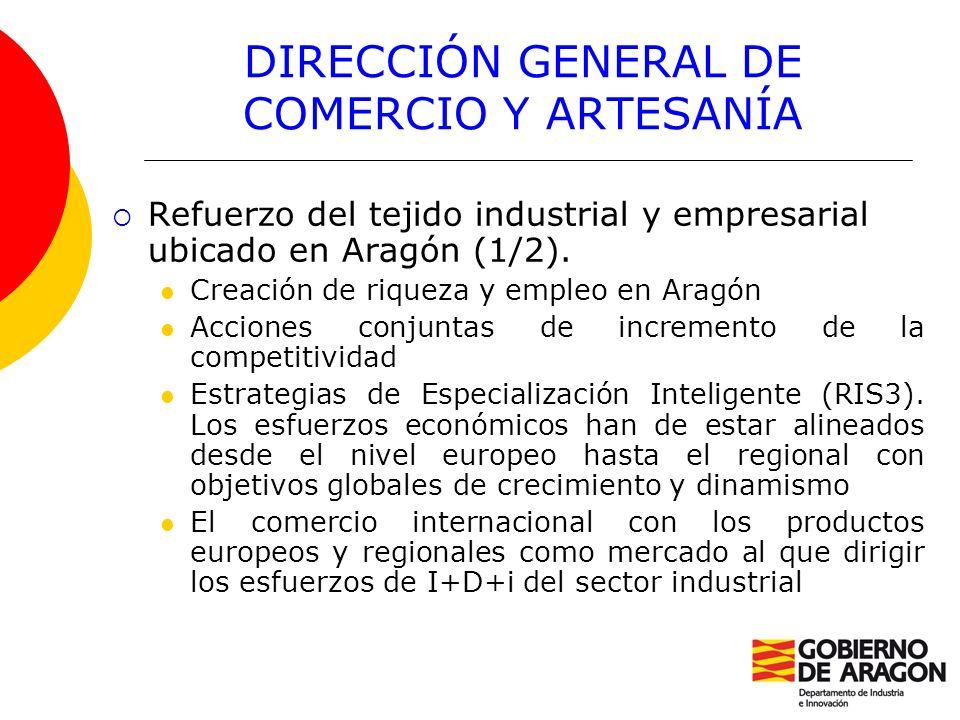 DIRECCIÓN GENERAL DE COMERCIO Y ARTESANÍA Refuerzo del tejido industrial y empresarial ubicado en Aragón (1/2). Creación de riqueza y empleo en Aragón