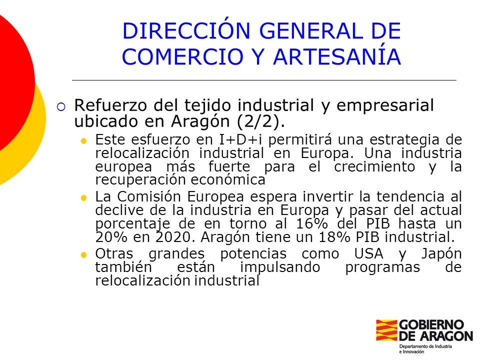 DIRECCIÓN GENERAL DE COMERCIO Y ARTESANÍA Refuerzo del tejido industrial y empresarial ubicado en Aragón (2/2). Este esfuerzo en I+D+i permitirá una e