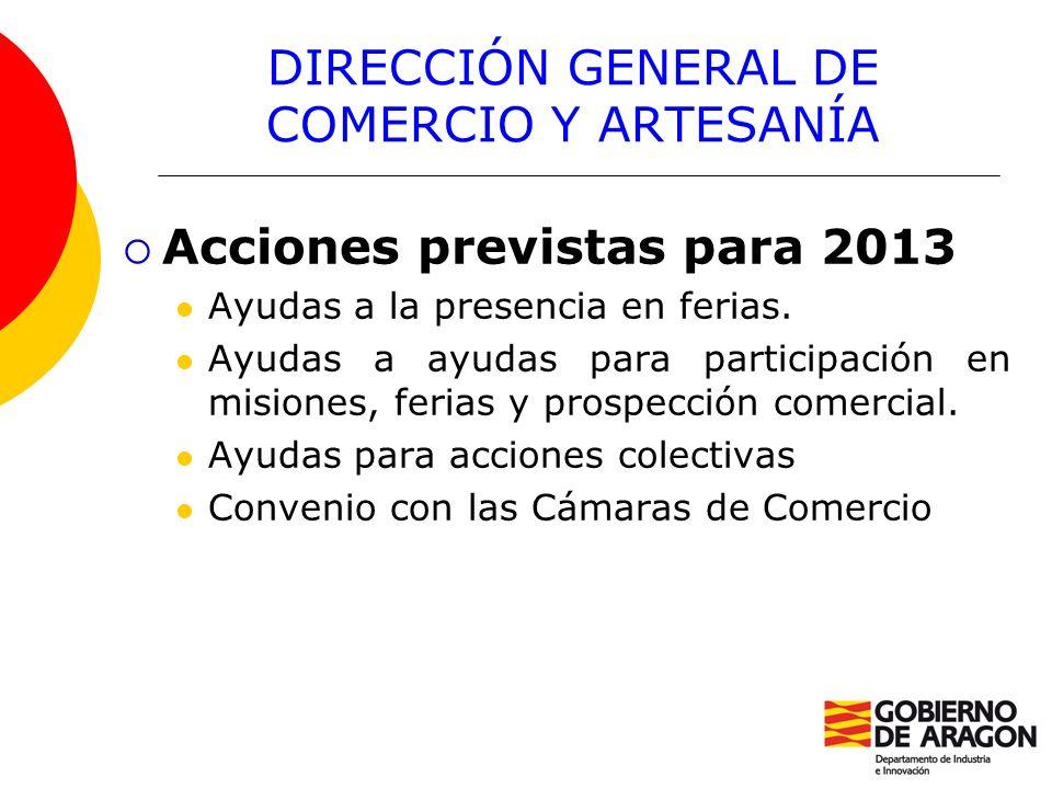 DIRECCIÓN GENERAL DE COMERCIO Y ARTESANÍA Acciones previstas para 2013 Ayudas a la presencia en ferias. Ayudas a ayudas para participación en misiones