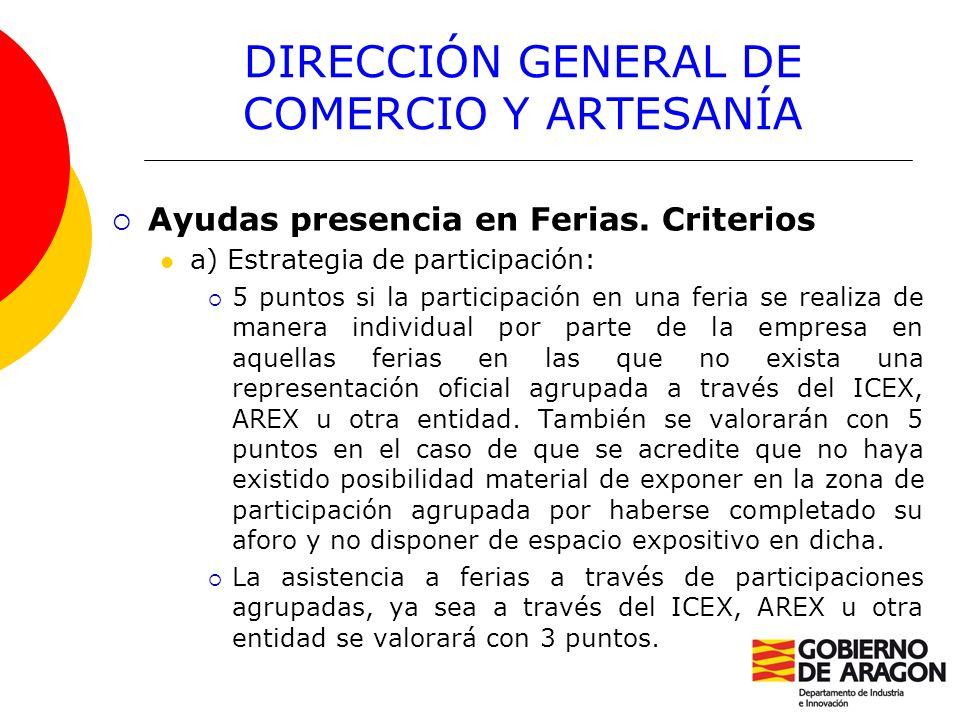 DIRECCIÓN GENERAL DE COMERCIO Y ARTESANÍA Ayudas presencia en Ferias. Criterios a) Estrategia de participación: 5 puntos si la participación en una fe