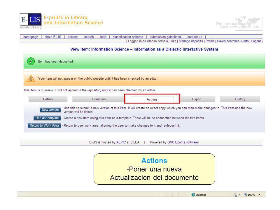 Actions -Poner una nueva Actualización del documento