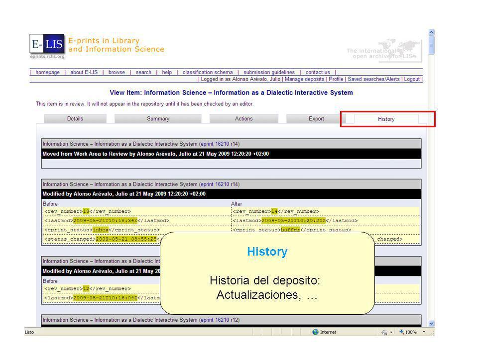 History Historia del deposito: Actualizaciones, …