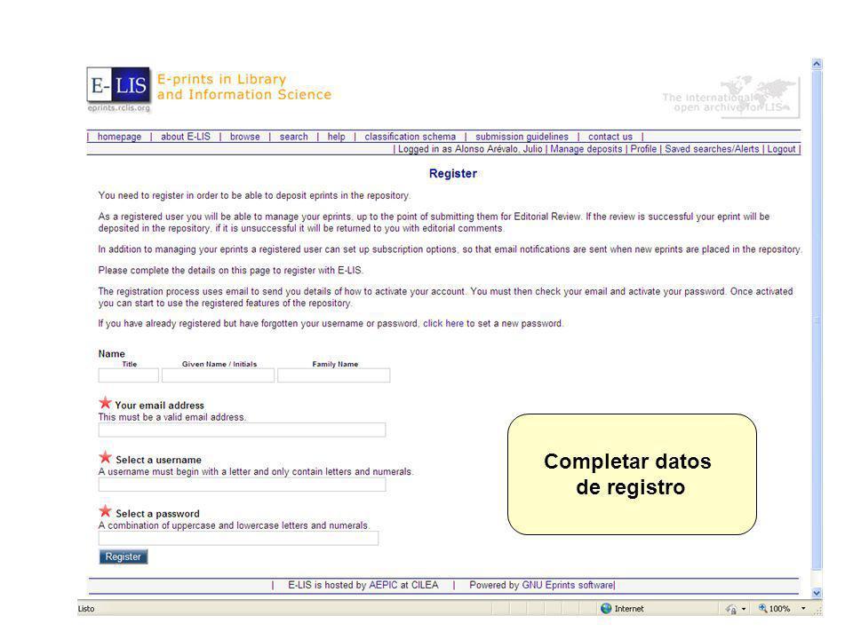 Completar datos de registro