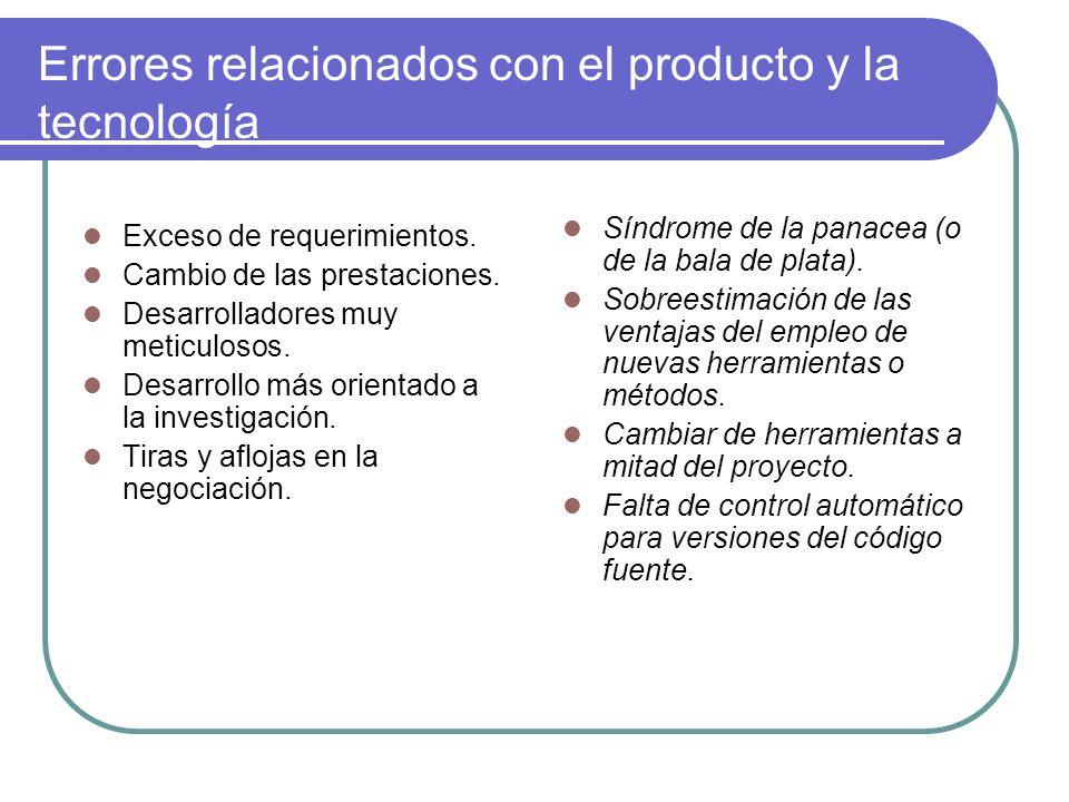 Errores relacionados con el producto y la tecnología Exceso de requerimientos. Cambio de las prestaciones. Desarrolladores muy meticulosos. Desarrollo