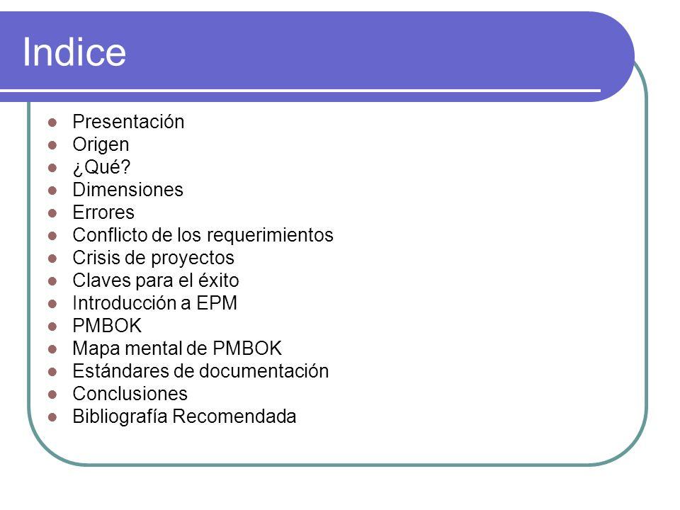 Indice Presentación Origen ¿Qué? Dimensiones Errores Conflicto de los requerimientos Crisis de proyectos Claves para el éxito Introducción a EPM PMBOK