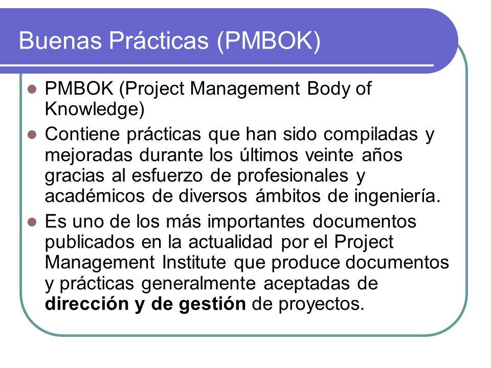 Buenas Prácticas (PMBOK) PMBOK (Project Management Body of Knowledge) Contiene prácticas que han sido compiladas y mejoradas durante los últimos veint