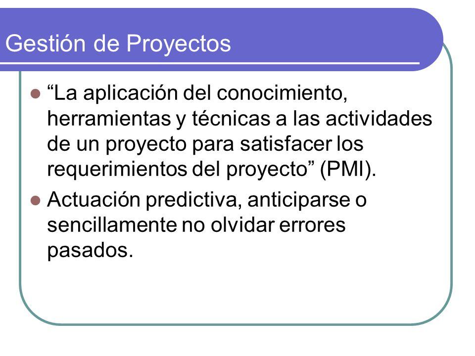 Gestión de Proyectos La aplicación del conocimiento, herramientas y técnicas a las actividades de un proyecto para satisfacer los requerimientos del p