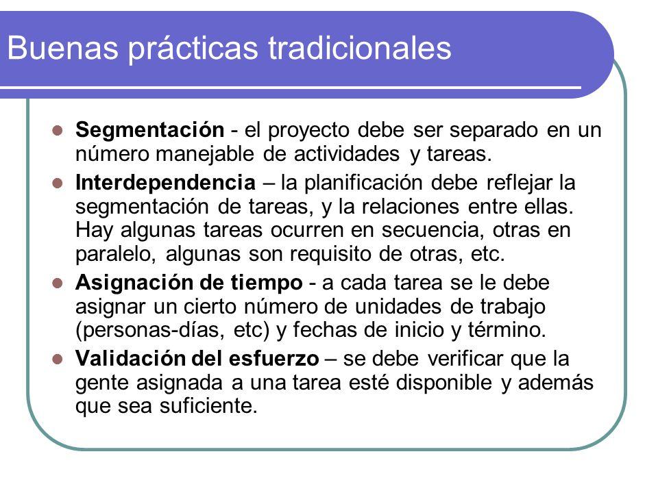 Buenas prácticas tradicionales Segmentación - el proyecto debe ser separado en un número manejable de actividades y tareas. Interdependencia – la plan