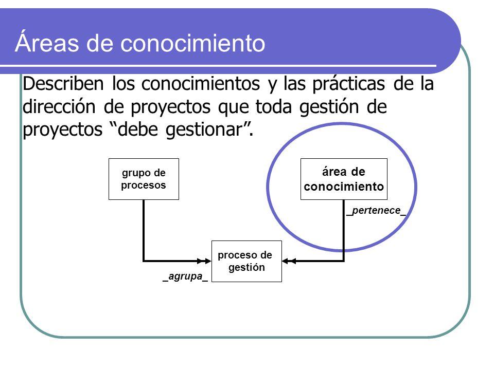 grupo de procesos área de conocimiento proceso de gestión _pertenece_ _agrupa_ Describen los conocimientos y las prácticas de la dirección de proyecto