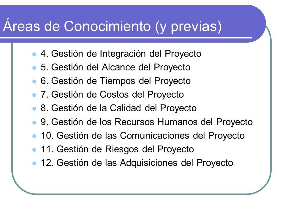 Áreas de Conocimiento (y previas) 4. Gestión de Integración del Proyecto 5. Gestión del Alcance del Proyecto 6. Gestión de Tiempos del Proyecto 7. Ges