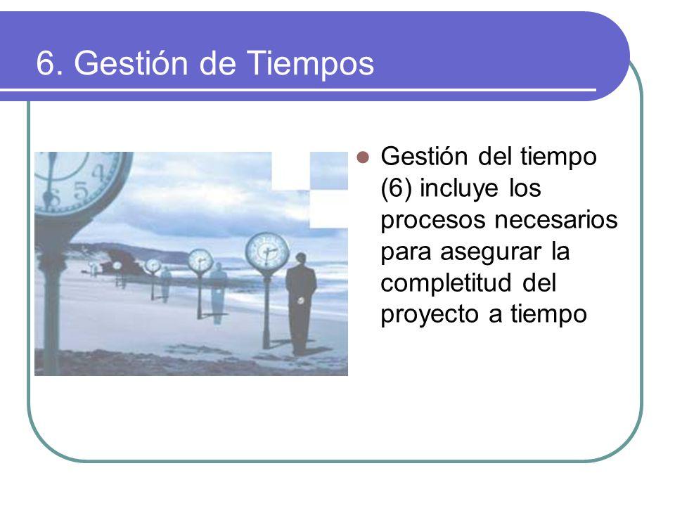 6. Gestión de Tiempos Gestión del tiempo (6) incluye los procesos necesarios para asegurar la completitud del proyecto a tiempo