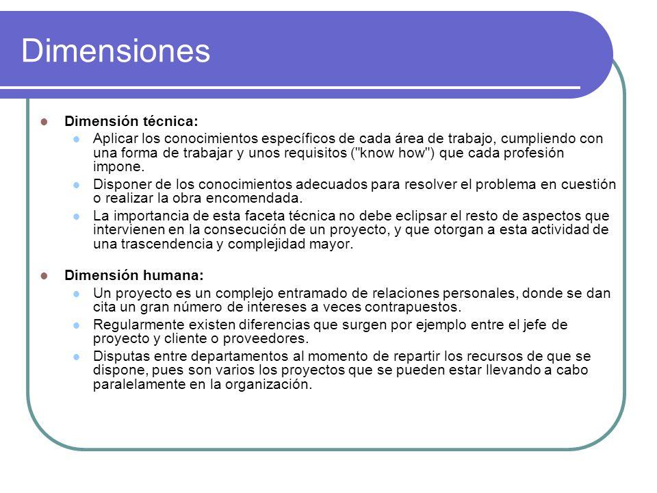 Dimensiones Dimensión técnica: Aplicar los conocimientos específicos de cada área de trabajo, cumpliendo con una forma de trabajar y unos requisitos (