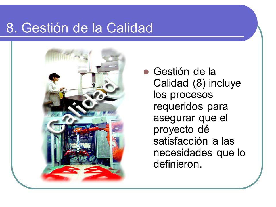 8. Gestión de la Calidad Gestión de la Calidad (8) incluye los procesos requeridos para asegurar que el proyecto dé satisfacción a las necesidades que