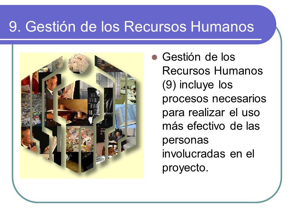 9. Gestión de los Recursos Humanos Gestión de los Recursos Humanos (9) incluye los procesos necesarios para realizar el uso más efectivo de las person