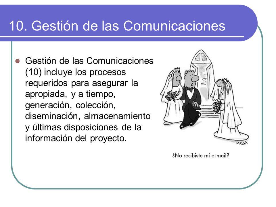 10. Gestión de las Comunicaciones Gestión de las Comunicaciones (10) incluye los procesos requeridos para asegurar la apropiada, y a tiempo, generació