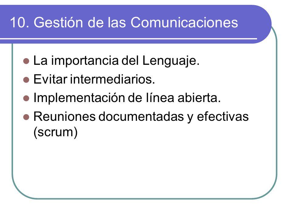 10. Gestión de las Comunicaciones La importancia del Lenguaje. Evitar intermediarios. Implementación de línea abierta. Reuniones documentadas y efecti