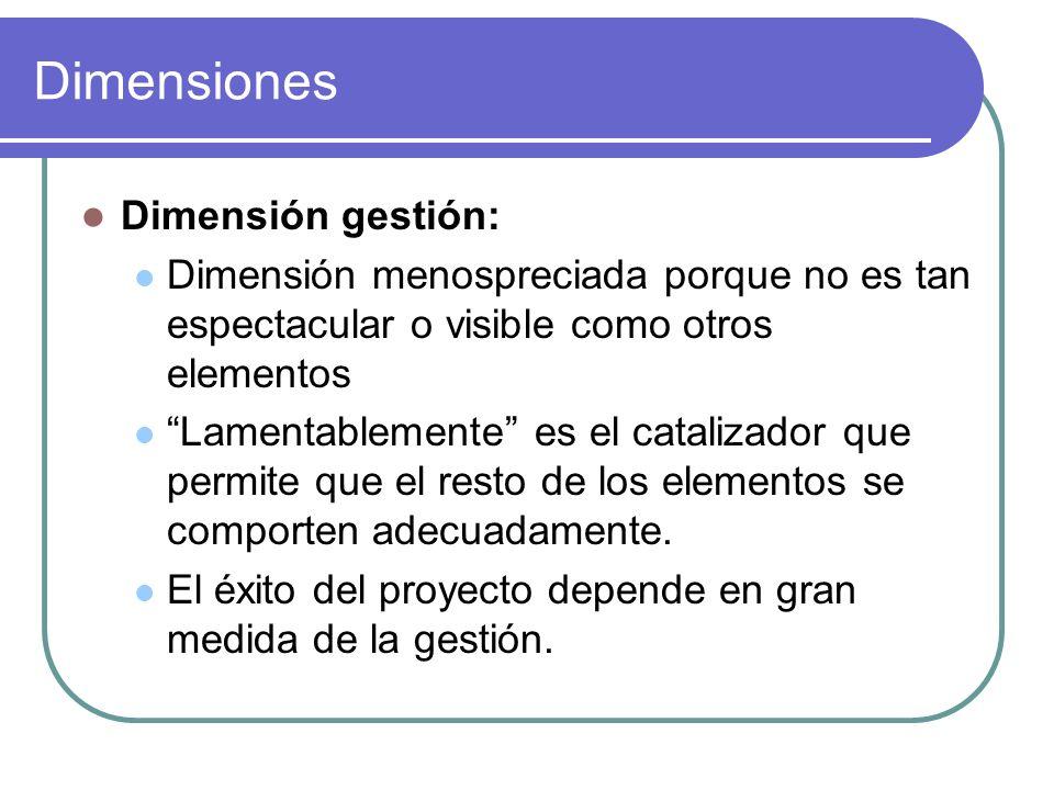 Dimensiones Dimensión gestión: Dimensión menospreciada porque no es tan espectacular o visible como otros elementos Lamentablemente es el catalizador