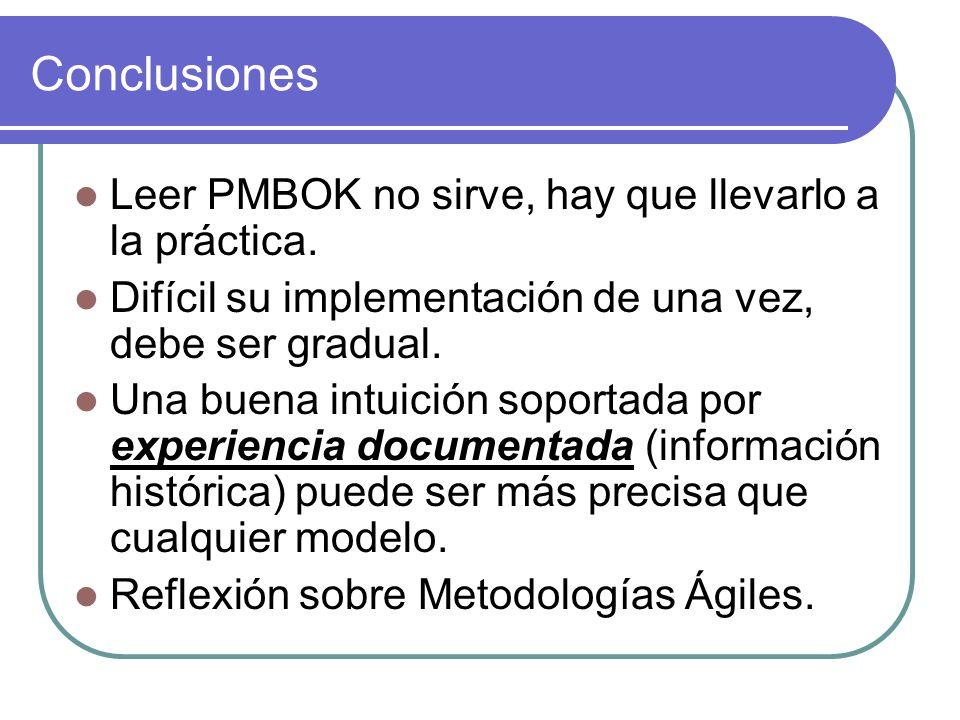 Conclusiones Leer PMBOK no sirve, hay que llevarlo a la práctica. Difícil su implementación de una vez, debe ser gradual. Una buena intuición soportad