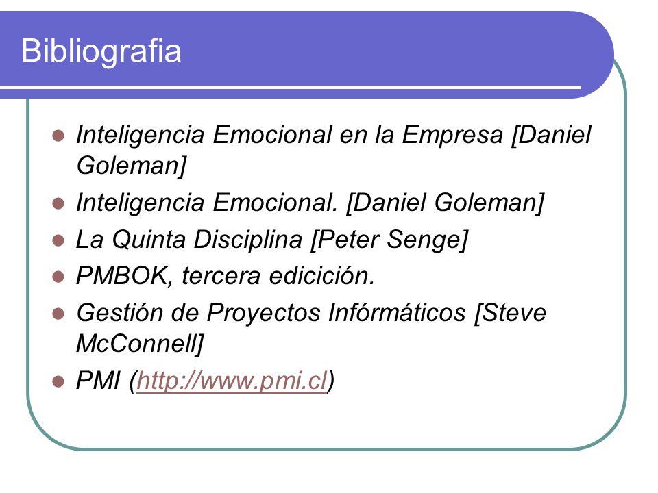 Bibliografia Inteligencia Emocional en la Empresa [Daniel Goleman] Inteligencia Emocional. [Daniel Goleman] La Quinta Disciplina [Peter Senge] PMBOK,