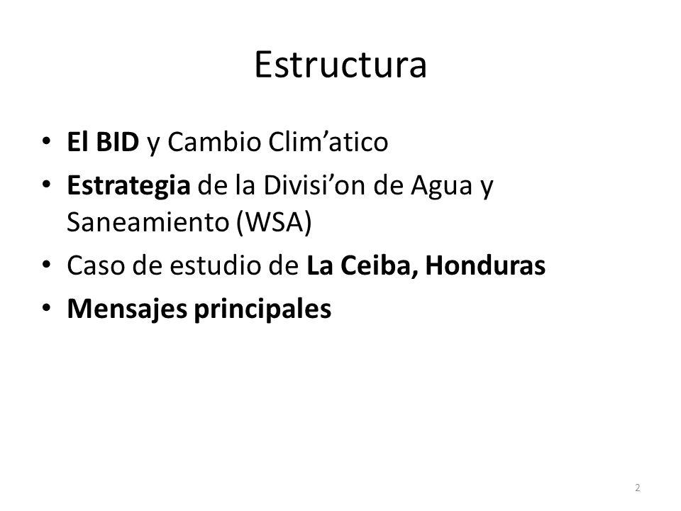 Estructura El BID y Cambio Climatico Estrategia de la Division de Agua y Saneamiento (WSA) Caso de estudio de La Ceiba, Honduras Mensajes principales