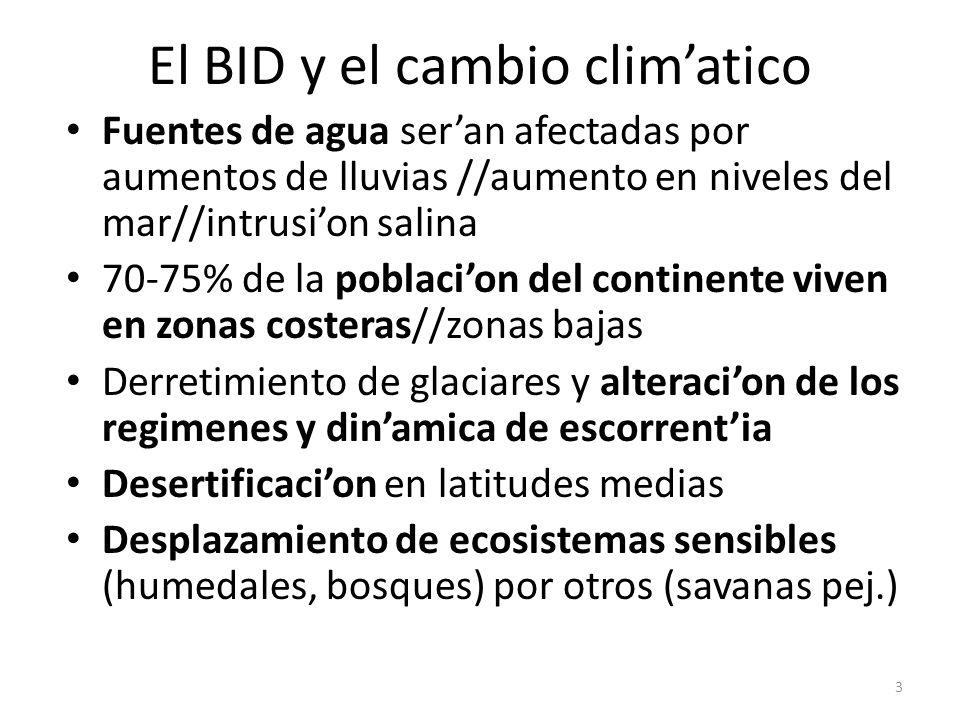 El BID y el cambio climatico Fuentes de agua seran afectadas por aumentos de lluvias //aumento en niveles del mar//intrusion salina 70-75% de la pobla