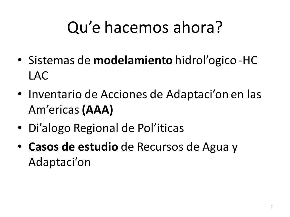 Que hacemos ahora? Sistemas de modelamiento hidrologico -HC LAC Inventario de Acciones de Adaptacion en las Americas (AAA) Dialogo Regional de Politic