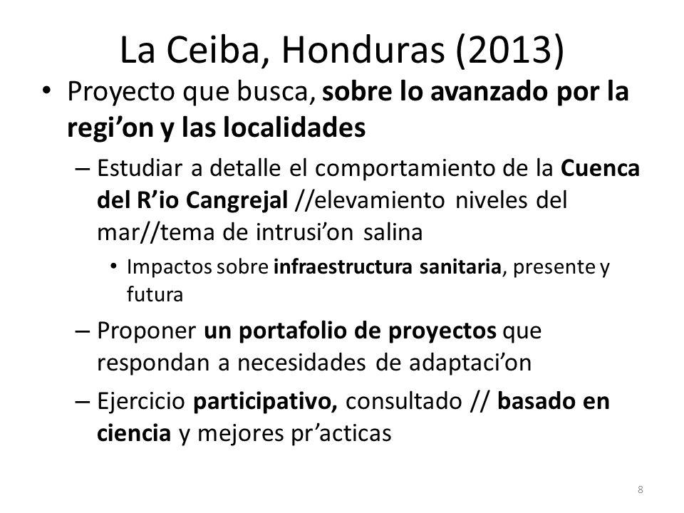 La Ceiba, Honduras (2013) Proyecto que busca, sobre lo avanzado por la region y las localidades – Estudiar a detalle el comportamiento de la Cuenca de