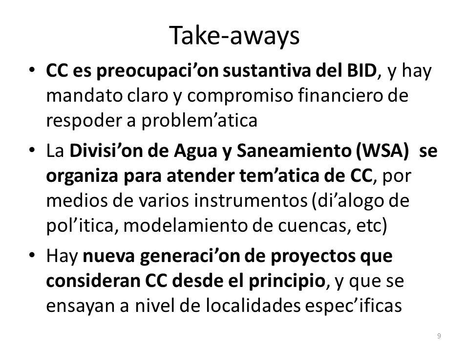 Take-aways CC es preocupacion sustantiva del BID, y hay mandato claro y compromiso financiero de respoder a problematica La Division de Agua y Saneami