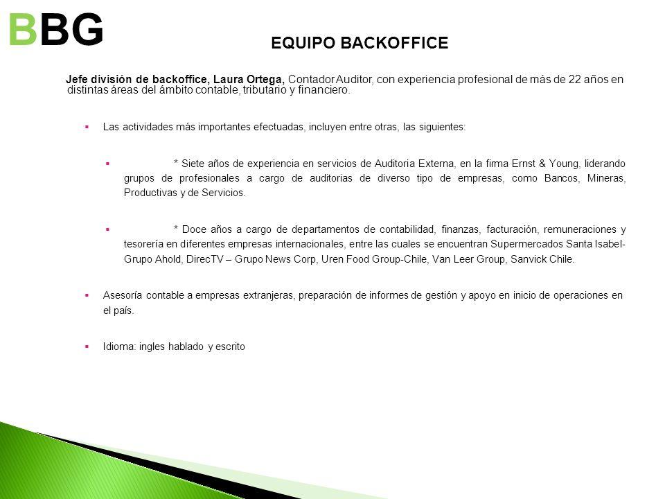 Jefe división de backoffice, Laura Ortega, Contador Auditor, con experiencia profesional de más de 22 años en distintas áreas del ámbito contable, tri