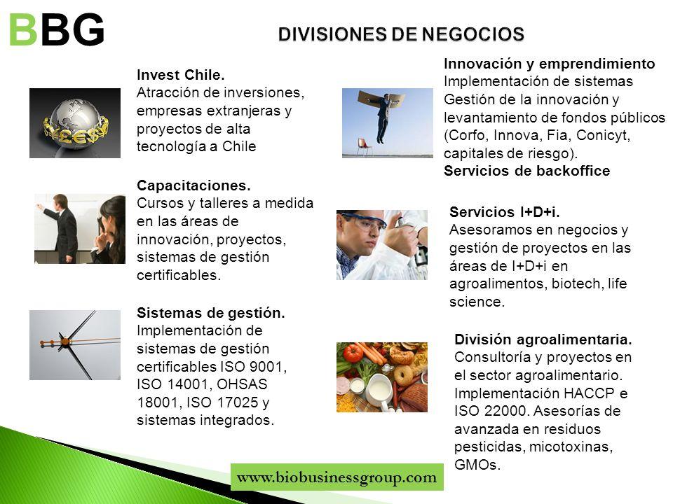 Invest Chile. Atracción de inversiones, empresas extranjeras y proyectos de alta tecnología a Chile BBG Innovación y emprendimiento Implementación de