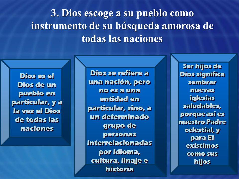 3. Dios escoge a su pueblo como instrumento de su búsqueda amorosa de todas las naciones Dios es el Dios de un pueblo en particular, y a la vez el Dio