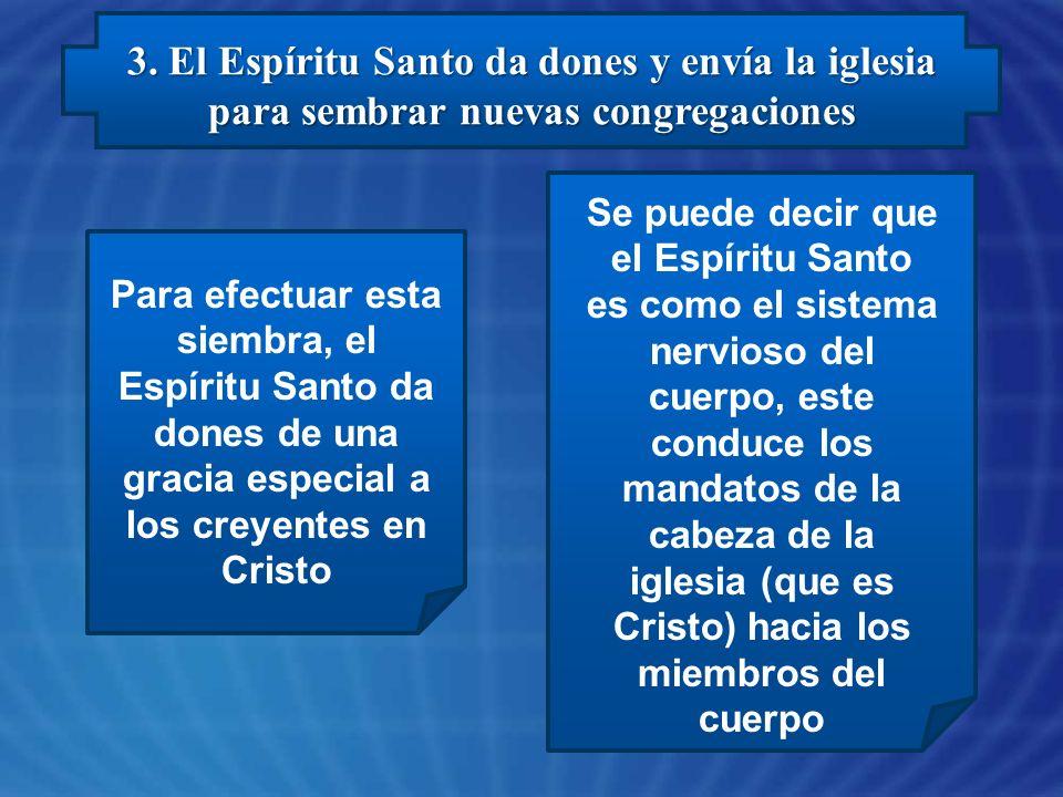 3. El Espíritu Santo da dones y envía la iglesia para sembrar nuevas congregaciones Para efectuar esta siembra, el Espíritu Santo da dones de una grac