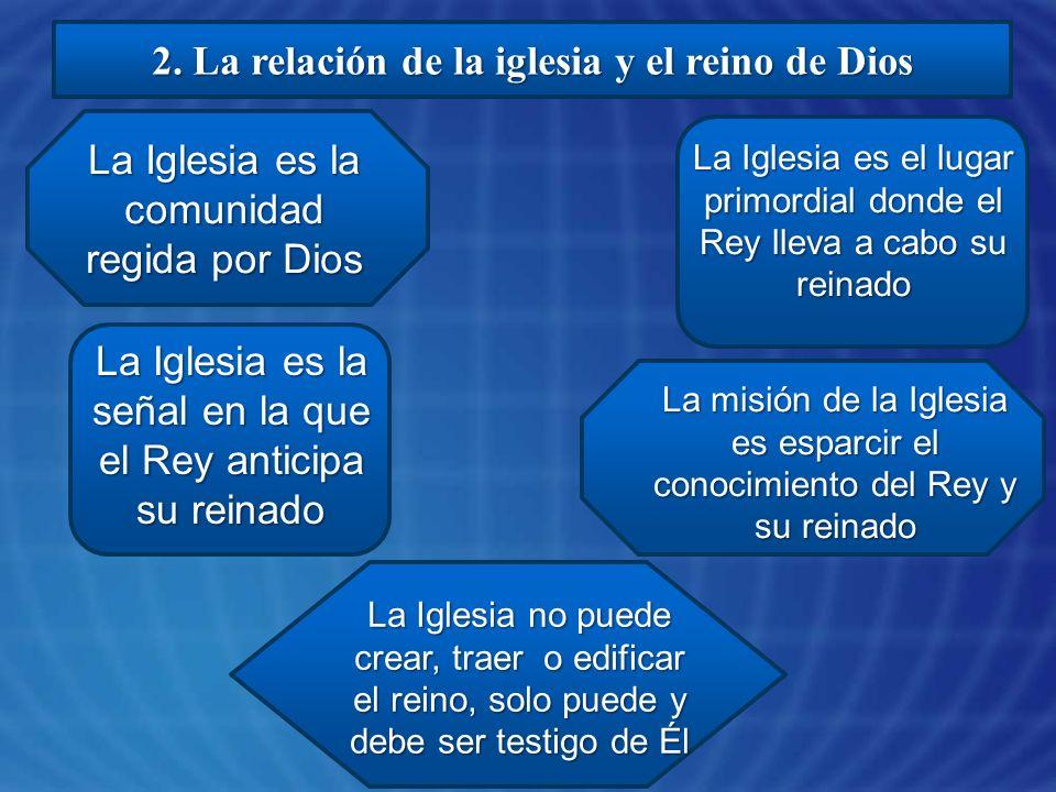 2. La relación de la iglesia y el reino de Dios La Iglesia es la comunidad regida por Dios La Iglesia es el lugar primordial donde el Rey lleva a cabo