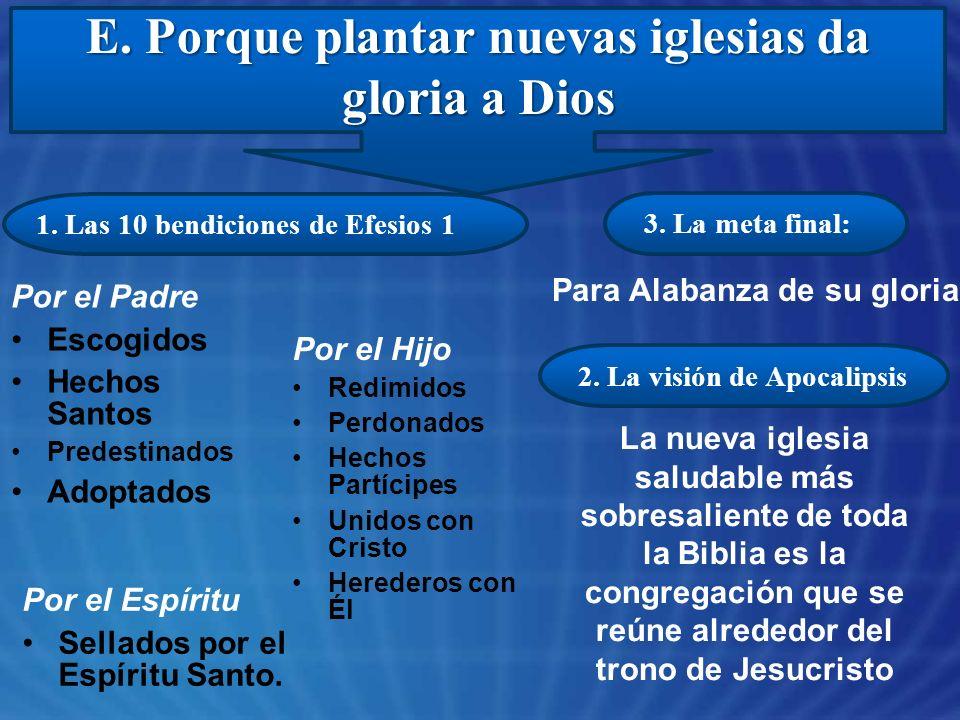 E. Porque plantar nuevas iglesias da gloria a Dios 2. La visión de Apocalipsis 1. Las 10 bendiciones de Efesios 1 3. La meta final: Por el Padre Escog