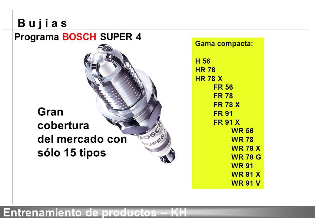 B u j í a s Entrenamiento de productos -- KH Aceleración Aceleración de 30 kph a 120 kph BOSCH SUPER 4 Bujía convencional