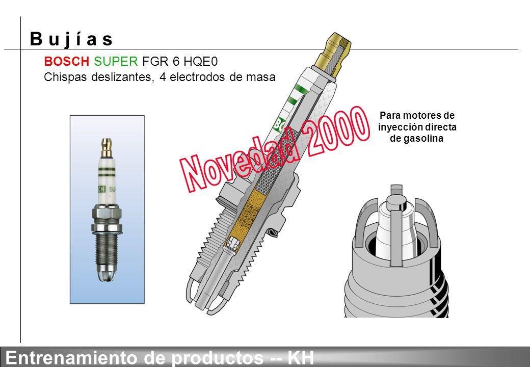B u j í a s Entrenamiento de productos -- KH Nueva aleación níquel-cromo-ítrio Desgaste después de 90 000 km dentro del mismo motor Aleaciones de elec